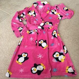 Pink Plush Penguin Fleece Robe - L(10/12)